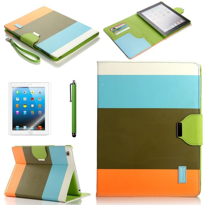 ATC Lumsing Colorful Wallet Design Magnetic PU Leather Stand Case Smart Cover for Apple iPad 2, iPad 3 (the new iPad) , iPad 4th Generation with Stylus (Wake:sleep Function)+ Screen protector (Blue+Brown+Orange)