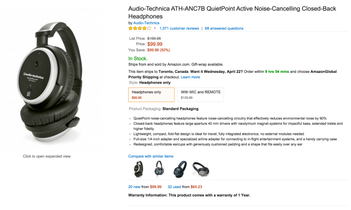 Audio-Technica QuietPoint Active Noise-Cancelling Closed-Back Headphones (ATH-ANC7B)-sale-02