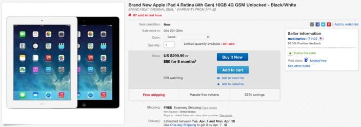 Brand New Apple iPad 4 Retina (4th Gen) 16GB 4G GSM Unlocked - Black:White