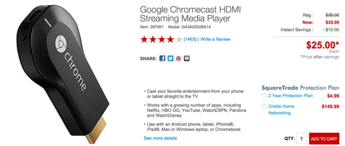 Chromecast staples $25