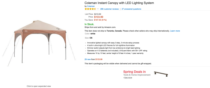 Coleman Instant Canopy with LED Lighting System-sale-02