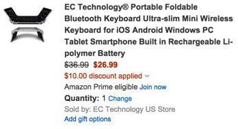 EC Technology Portable Foldable Bluetooth Keyboard