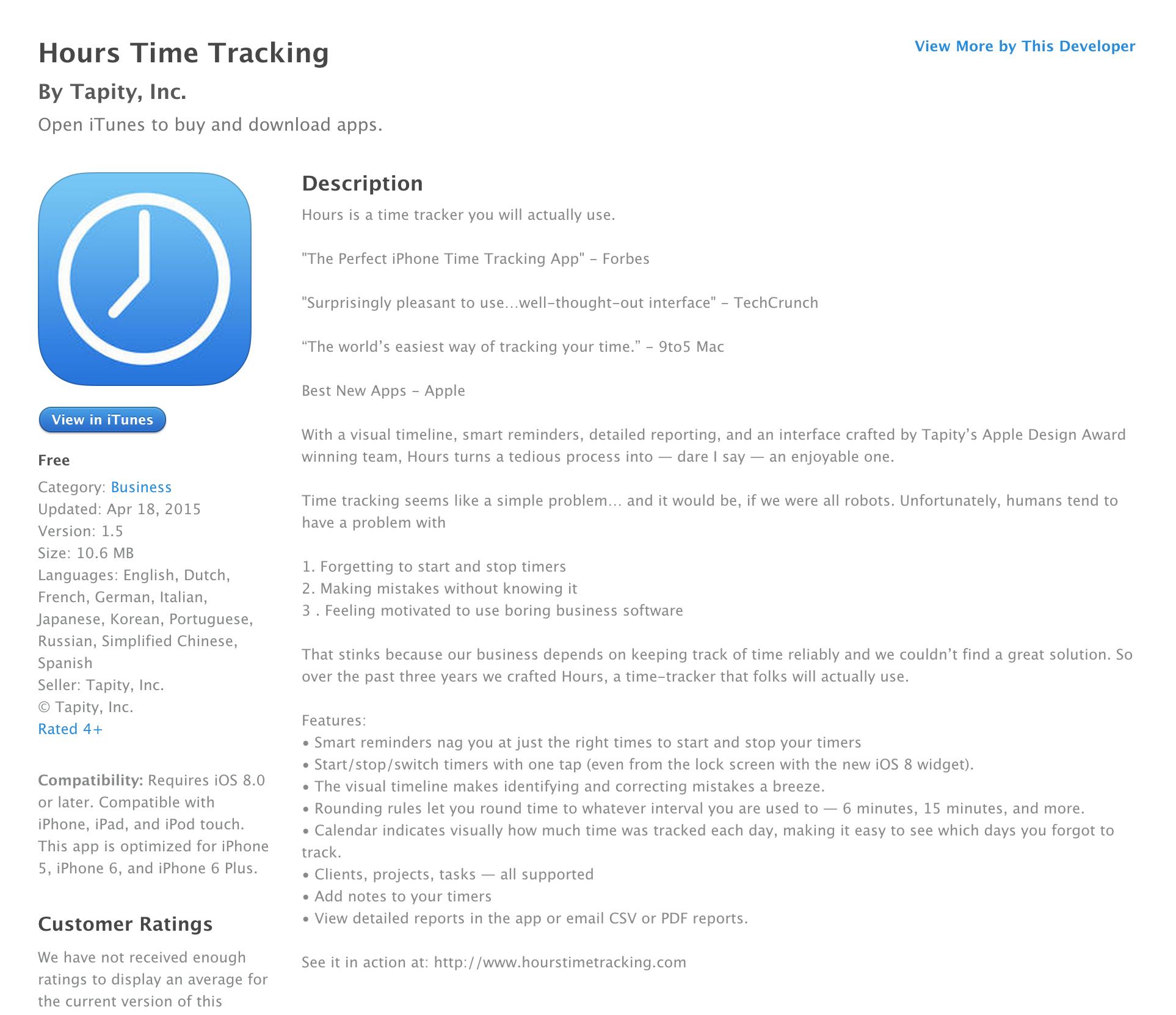 Hours Time Tracking app from Apple Design Award winner