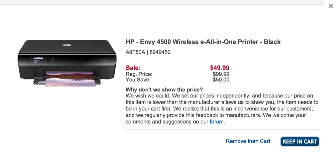 HP Envy 4500 Wireless All-in-One Printer w/ AirPrint $50