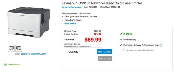 Lexmark™ CS310n Network-Ready Color Laser Printer