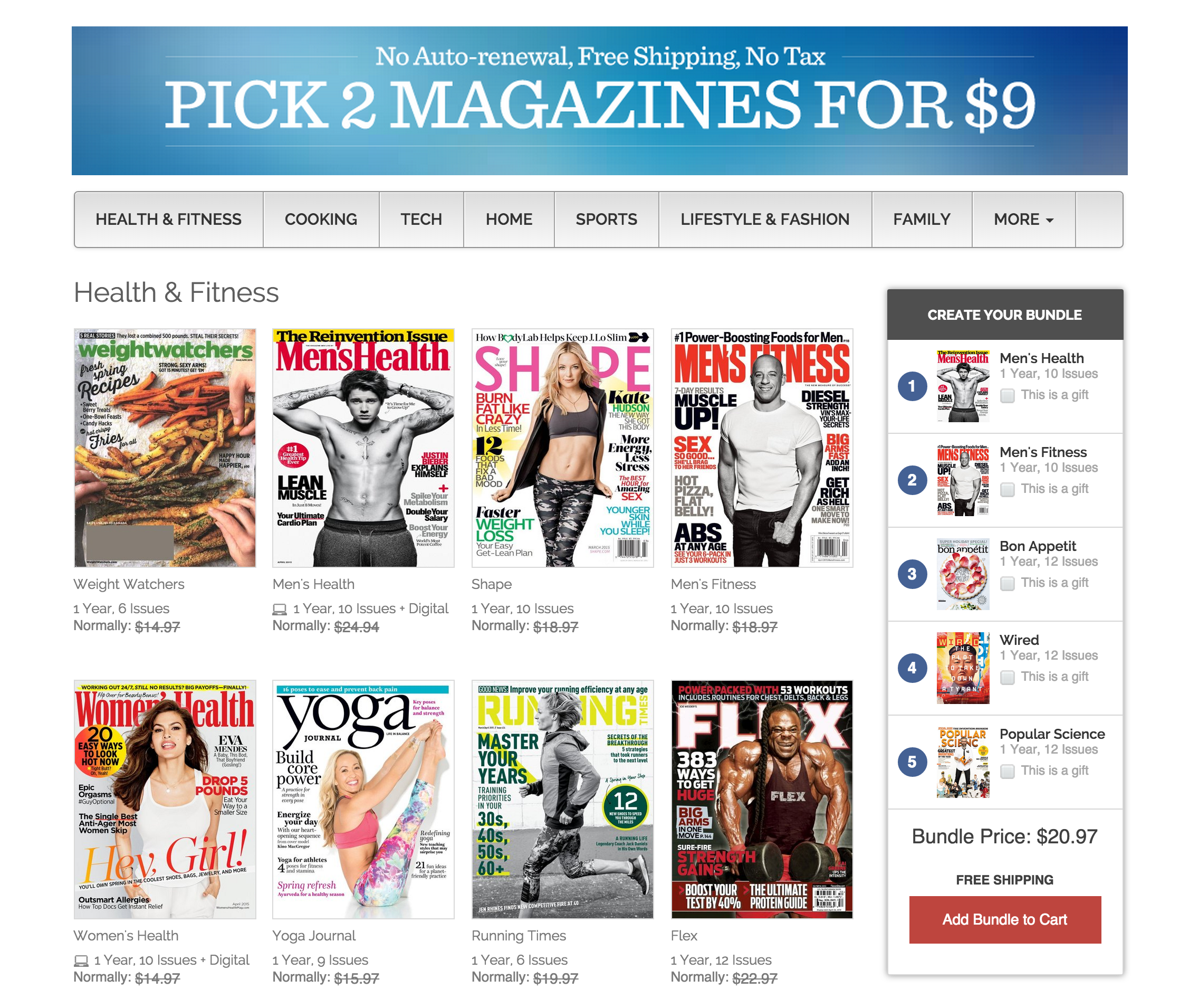 Multi-magazine subs from $4/yr: Men\'s Health, Wired, ESPN, Dwell, GQ ...