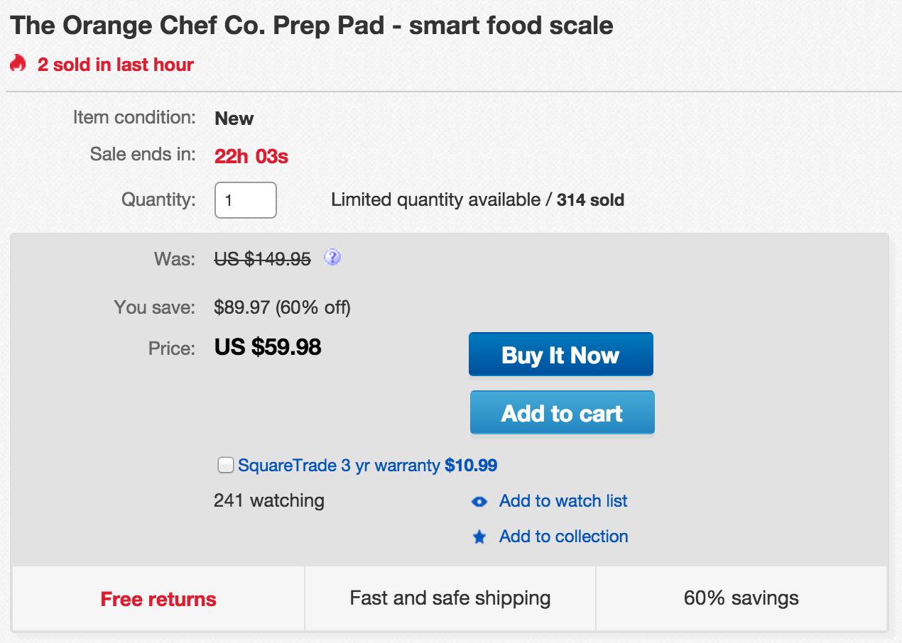 Home: Orange Chef Smart Food Scale $60 (Reg  $100), 3-Pack Remote