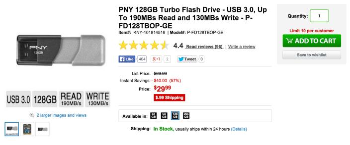 PNY Turbo 128GB USB 3.0 Flash Drive-sale-02