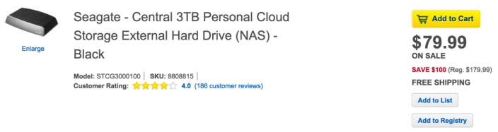 Seagate - Central 3TB Personal Cloud Storage External Hard Drive