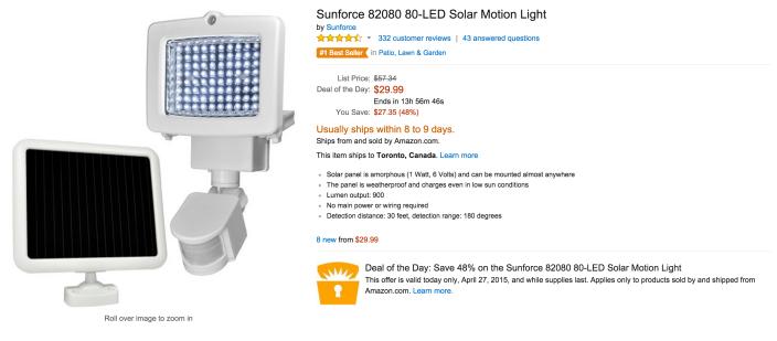 Sunforce LED Solar Motion Light (82080 80)-Gold Box-sale-02