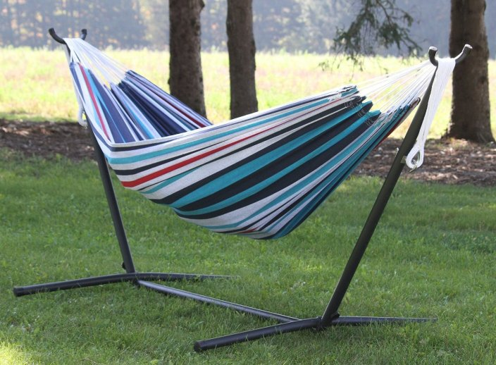 Vivere Double Hammock with Space Saving Steel Stand-sale-01