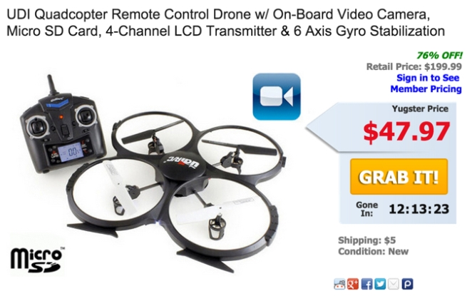 yugster quadcopter drone deal of the day