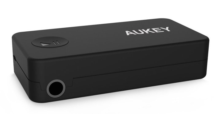 Aukey Portable Bluetooth 3.0 Audio Receiver Wireless Music Streaming Adapter with Hands Free Calling, Built-in Mic, 3.5 mm Stereo Output for Car (BR-C2)