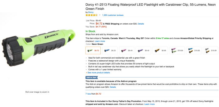 Dorcy Floating Waterproof LED Flashlight with Carabineer Clip (41-2513)-sale-02