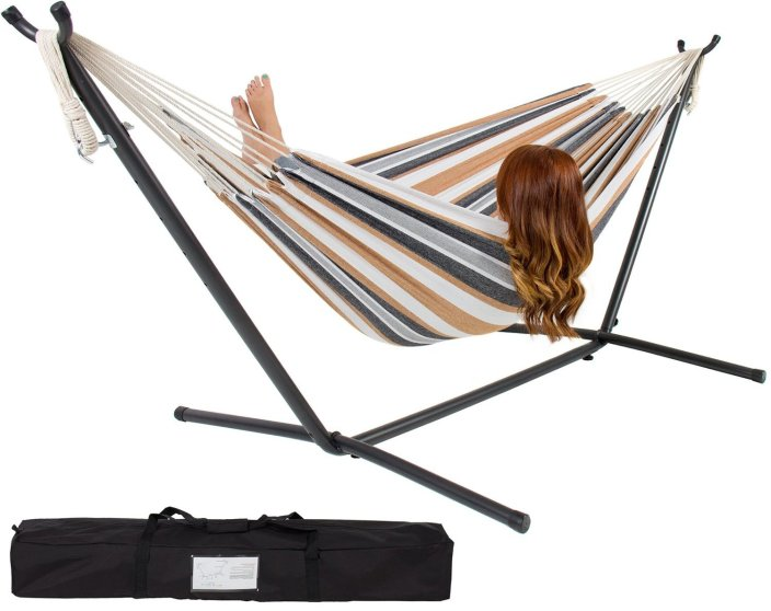 Double Hammock With Space Saving Steel Stand and Portable Carrying Case-sale-01