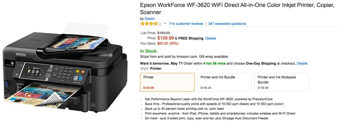 Epson WorkForce (WF-3620) WiFi Direct All-in-One Color Inkjet Printer