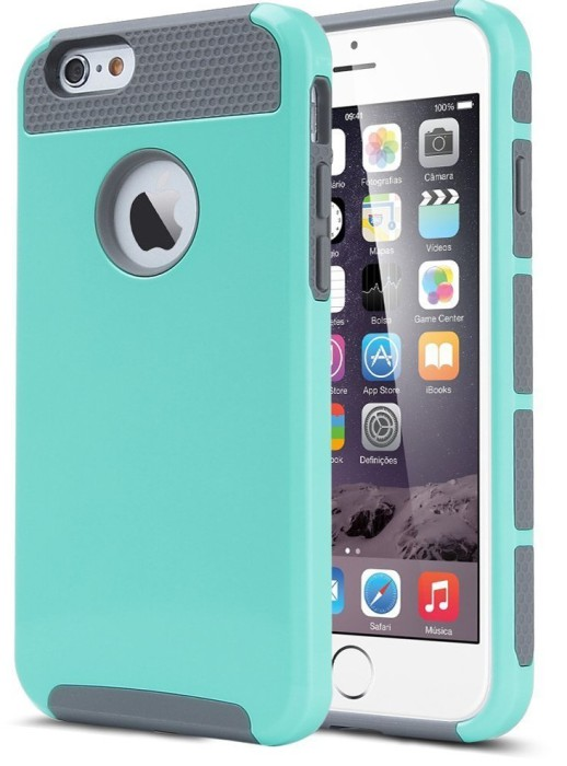 iPhone 6 Case, Lumsing™ Hybrid High Impact Double Layer Armor Defender Case Protective Cover for Apple iPhone 6 (4.7 inch Screen) with Screen Protector (2 in 1:Mint Green-Grey)