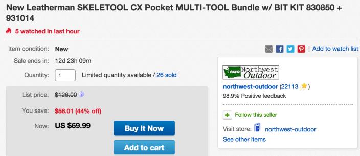 Leatherman SKELETOOL CX multi-tool (830850) w: bit kit (931014)-sale-02