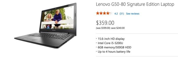 Lenovo G50-80 Signature Edition Laptop