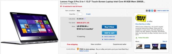Lenovo Yoga 3 Pro 2-in-1 13.3%22 Touch-Screen Laptop Intel Core M 8GB Mem 256GB