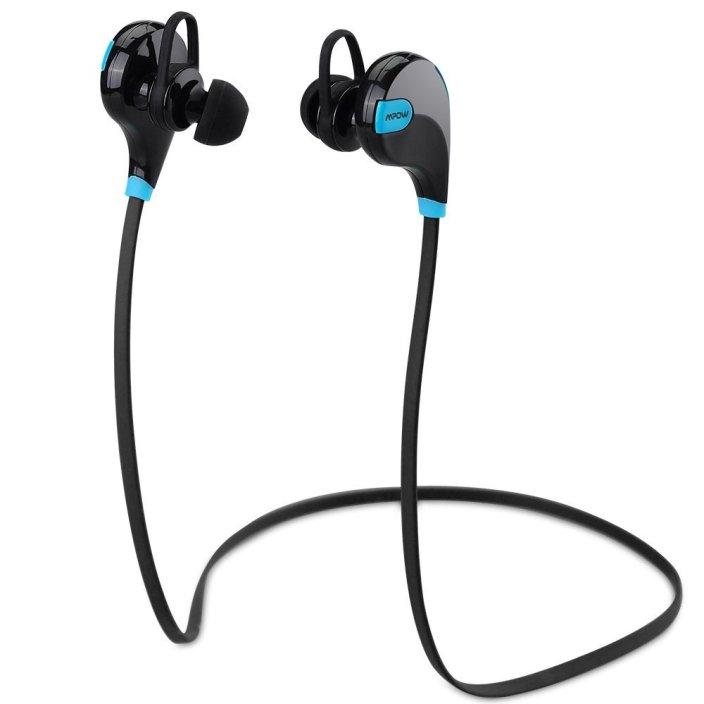 [New Version]Mpow® Swift Bluetooth 4.0 Wireless Stereo Sweatproof Jogger, Running, Sport Headphones Earbuds Earphone with AptX,Mic Hands-free Calling-Blue