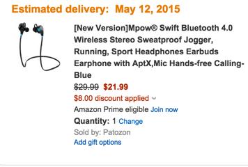 [New Version]Mpow® Swift Bluetooth 4.0 Wireless Stereo Sweatproof Jogger, Running, Sport Headphones Earbuds Earphone with AptX,Mic Hands-free Calling