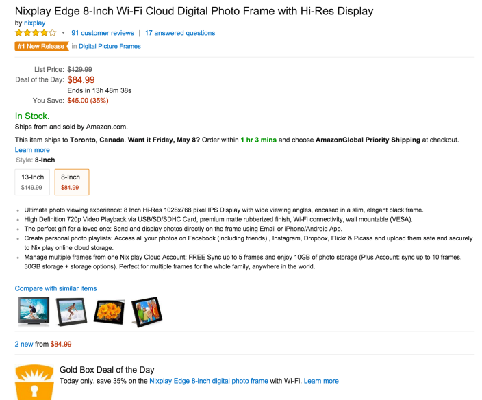 Nixplay Edge 8-Inch Wi-Fi Cloud Digital Photo Frame with Hi-Res Display-sale-02