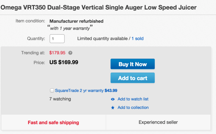 Omega Heavy Duty Dual-Stage Vertical Single Auger Low Speed Juicer (VRT350)-sale-02