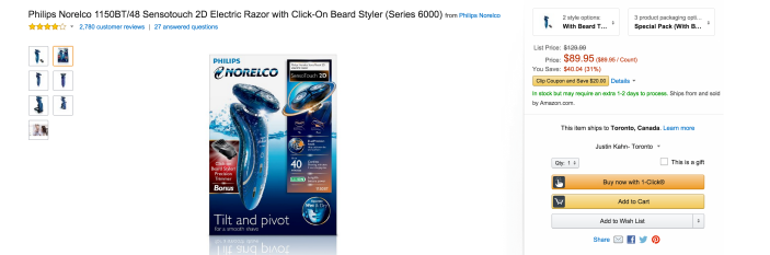 Philips Norelco Sensotouch 2D Electric Razor with Click-On Beard Styler (Series 6000, 1150BT:48)-sale-02