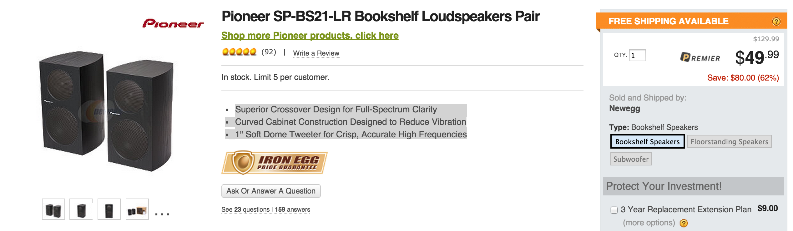 Pioneer Speakers SP BS21 Bookshelfs 50 Shipped Orig 100 SW 8 Watt Sub 72 160