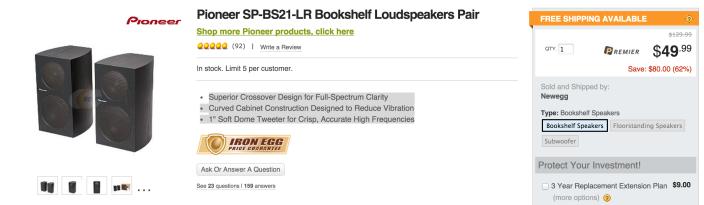 Pioneer Bookshelf Loudspeakers (pair, SP-BS21-LR)-sale-02
