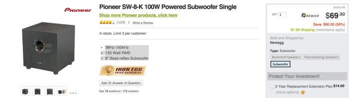 Pioneer SW-8 100 Watt RMS Subwoofer System-sale-03
