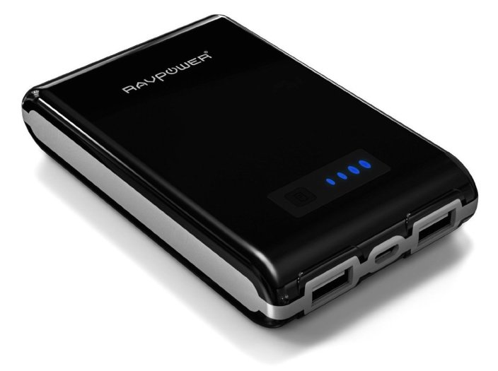 RAVPower Element RP-PB07 10400mAh Portable Charger with iSmart Technology (External Battery Pack, Power Bank, 3A Output, Dual USB)-Black