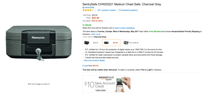 SentrySafe Medium Chest Safe in Charcoal Gray (CHW20221)-sale-02