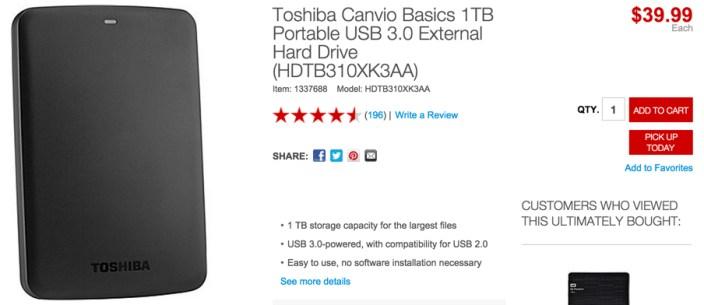 Toshiba Canvio Basics 1TB Portable USB 3.0 External Hard Drive (HDTB310XK3AA)