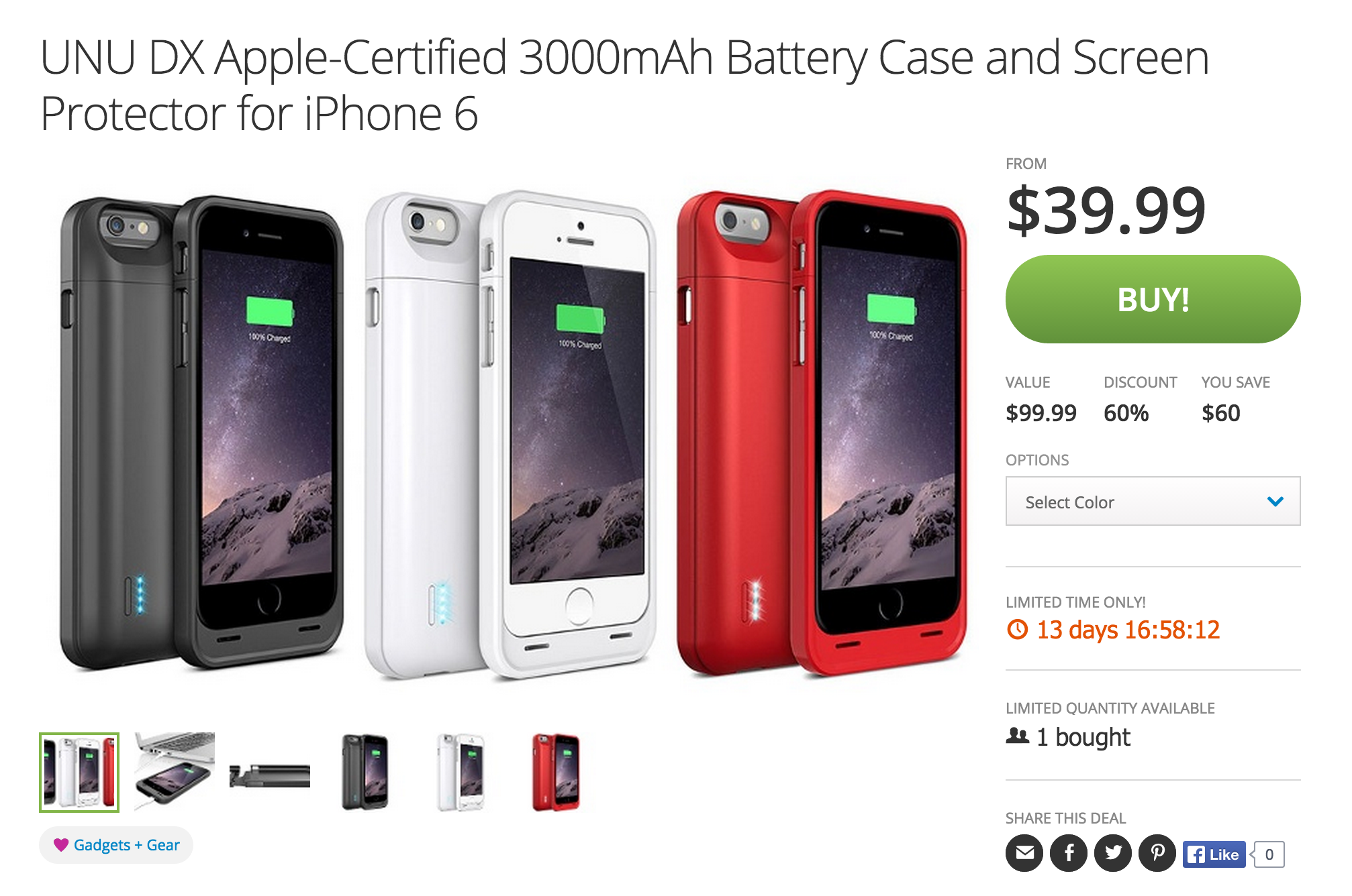 best service 87574 9a84c uNu DX iPhone 6 MFi 3,000mAh Battery Case (multiple colors) $40 ...