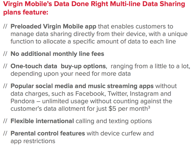 Virgin mobile features
