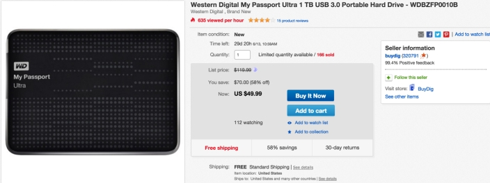 Western Digital My Passport Ultra 1 TB USB 3.0 Portable Hard Drive