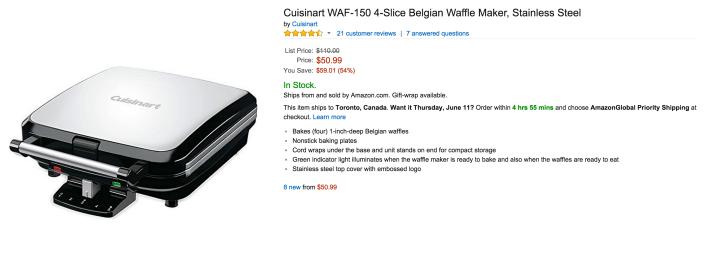 Cuisinart 4-Slice Belgian Waffle Maker in Stainless Steel (WAF-150)-sale-02