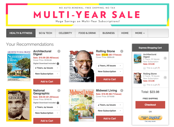 DiscountMags-Multi-year sale-Wired-Pop science-GQ, ESPN, many more