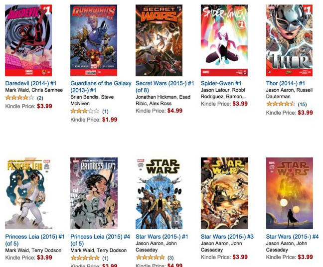 Marvel comics at kindle store