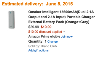 Omaker Intelligent 15600mAh(Dual 2.1A Output and 2.1A Input) Portable Charger External Battery Pack (Orange+Grey)