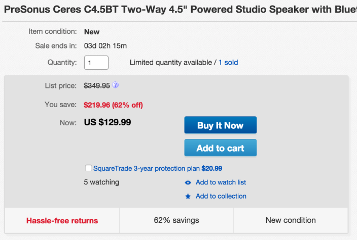 PreSonus Ceres Two-Way 4.5%22 Powered Studio Speakers with Bluetooth (C4.5BT)-sale-01