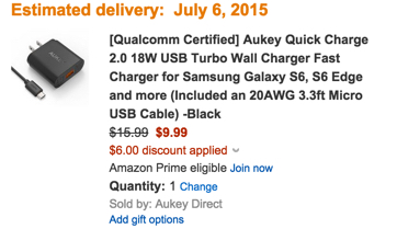[Qualcomm Certified] Aukey Quick Charge 2.0 USB Turbo Wall Charger