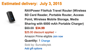 RAVPower FileHub Travel Router with Built-In 6000 mAh