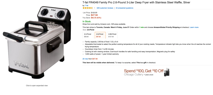 T-fal Family Pro 2.6-Pound 3-Liter Stainless Steel Deep Fryer-sale-02