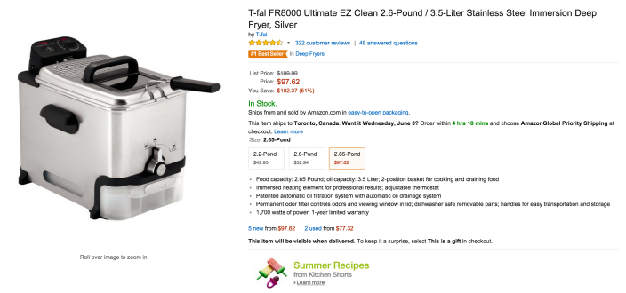 T-fal Ultimate EZ Clean 2.6-Pound : 3.5-Liter Stainless Steel Immersion Deep Fryer (FR8000)-sale-02