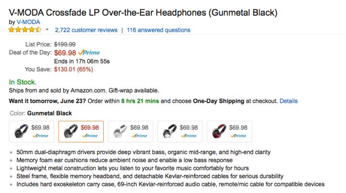 Amazon Gold Box - V-MODA Crossfade LP Over-the-Ear