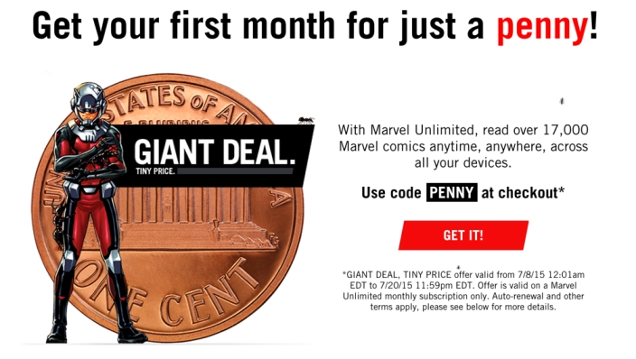 Ant Man promo for Marvel unlimited 1 month