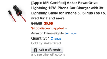[Apple MFi Certified] Anker PowerDrive Lightning 12W iPhone Car Charger with 3ft Lightning Cable for iPhone 6 : 6 Plus : 5s : 5, iPad Air 2